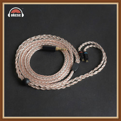OKCSC KE8HU 0.78MM 2PIN Headphone Upgrade Cables 8 Cores Copper and Silver 3.5mm Plug for en700pro 1964 UE18/JH13/JH16/W4r