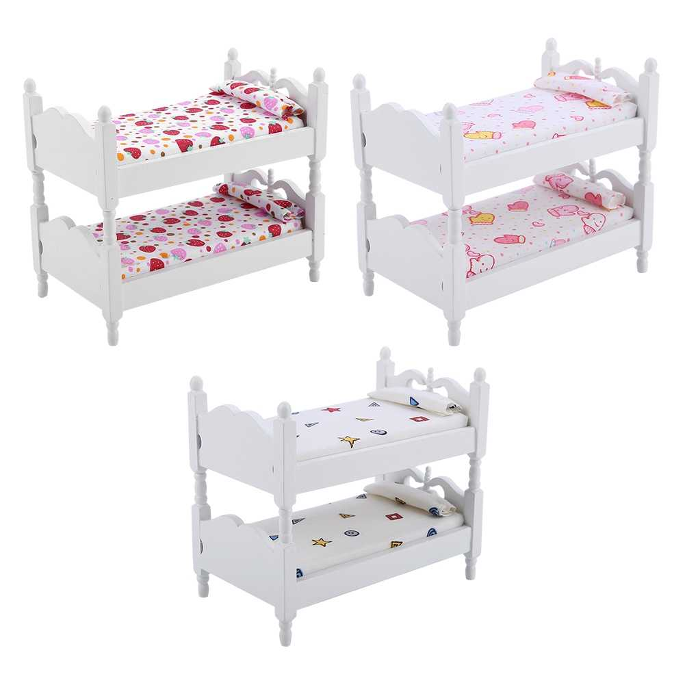 1:12 Kids Mini Bunk Bed Toys Doll House Furniture Children Bedroom Model for Children Pretend Play Game Toys Doll Accessery