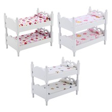 1:12 Kids Mini Bunk Bed Toys Doll House Furniture Children Bedroom Model for Children Pretend Play Game Toys Doll Accessery(China)