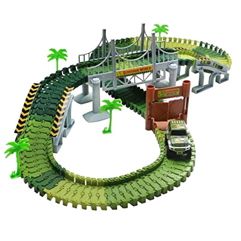 NEESSV bricolage créer des charges de dinosaure Flexible souple pistes de course magiques véhicules accessoires pont pour enfants cadeau de vacances