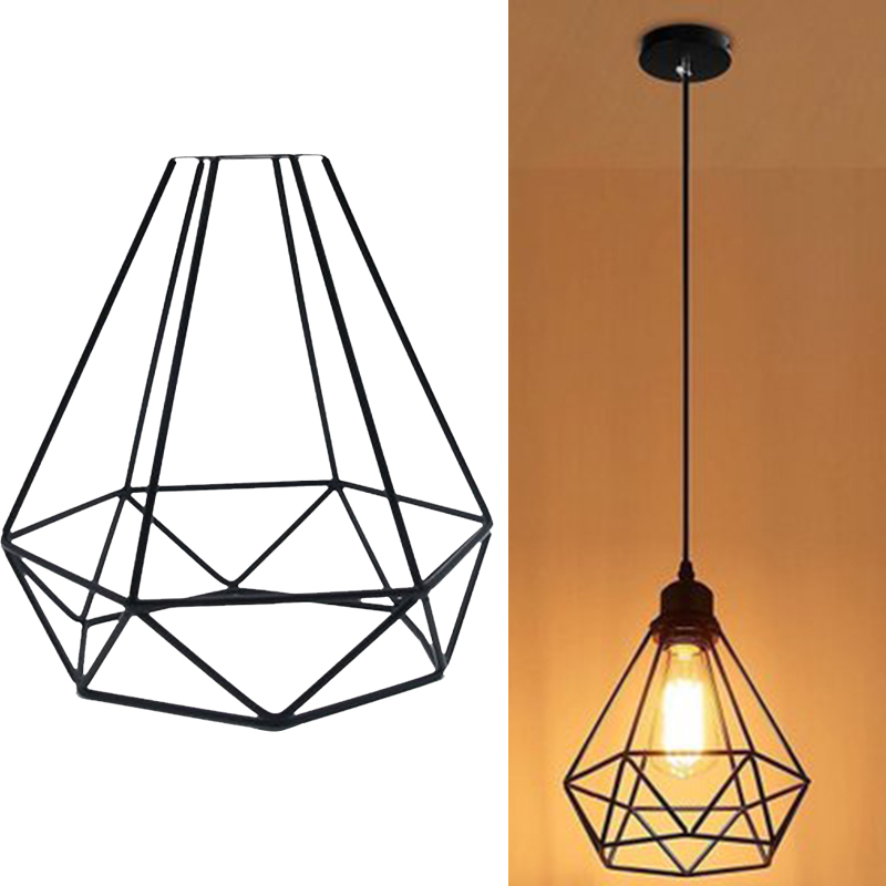 Us 8 0 25 Off Modern Pendant Retro Light Bulb Iron Guard Wire Cage Hanging Lampshade Ceiling Lighting Fixtures Home Decoration In Lamp Covers