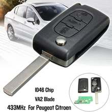 3 Button 433MHz Car Remote Key ID46 Battery VA2 Transponder Chip Ignition Key For Peugeot 307 407 308 for Citrpen