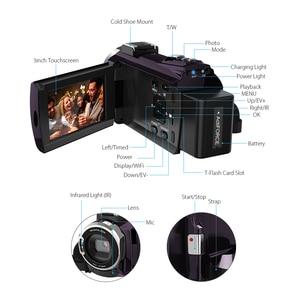 Image 3 - Andoer 4K Camcord 1080P 48MP WiFi Digital Video Kamera mit 0.39X Weitwinkel Makro Objektiv + Mikrofon + LED Video Licht + Kamera Tasche