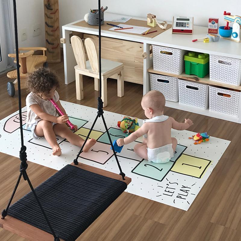 Bébé numéro tapis treillis lettre imprimé tapis de jeu coton jeux tapis chambre décoration enfants literie jouet enfants cadeau 80*160 cm - 2