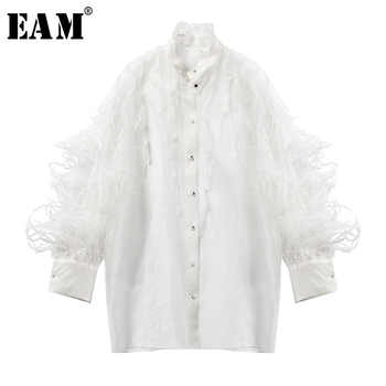 [EAM] 2019 New Autumn Winter Stand Collar Long Sleeve Feather Organza Perspective Big Size Shirt Women Blouse Fashion JT283 - DISCOUNT ITEM  17% OFF All Category
