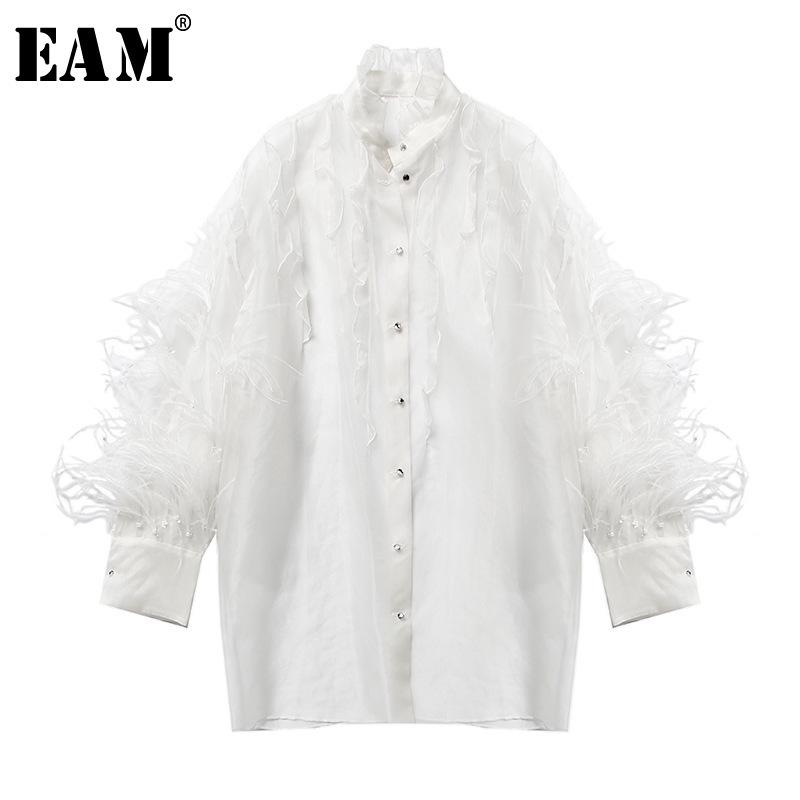 [EAM] 2020 New Spring Autumn Stand Collar Long Sleeve Feather Organza Perspective Big Size Shirt Women Blouse Fashion JT283