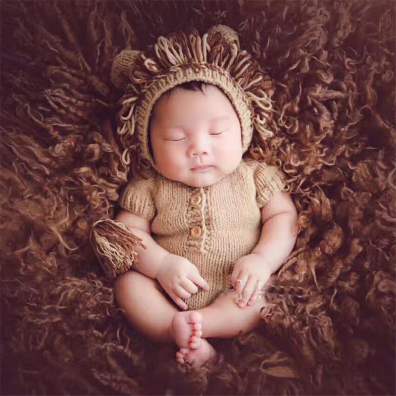 Lion Shape Newborn Baby Photography Props Accessaries Knitted Sweater Handmade Crochet Baby Photography Costume Romper+Hat Set