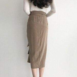 Image 3 - TWOTWINSTYLE מזדמן חצאית לנשים גבוהה מותן תחבושת סימטרי Midi חצאיות נשי קוריאני אופנה אלגנטית 2020 אביב