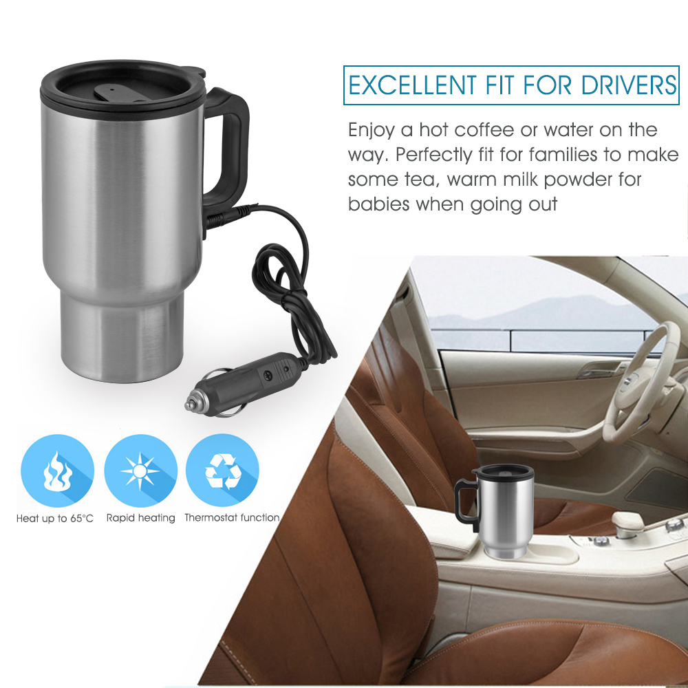Car Cup Bottle 12V 450ml Tea Coffee Water Heater Heating Tool Cup Electric Kettle Thermal Car cigarette lighter Heater driving