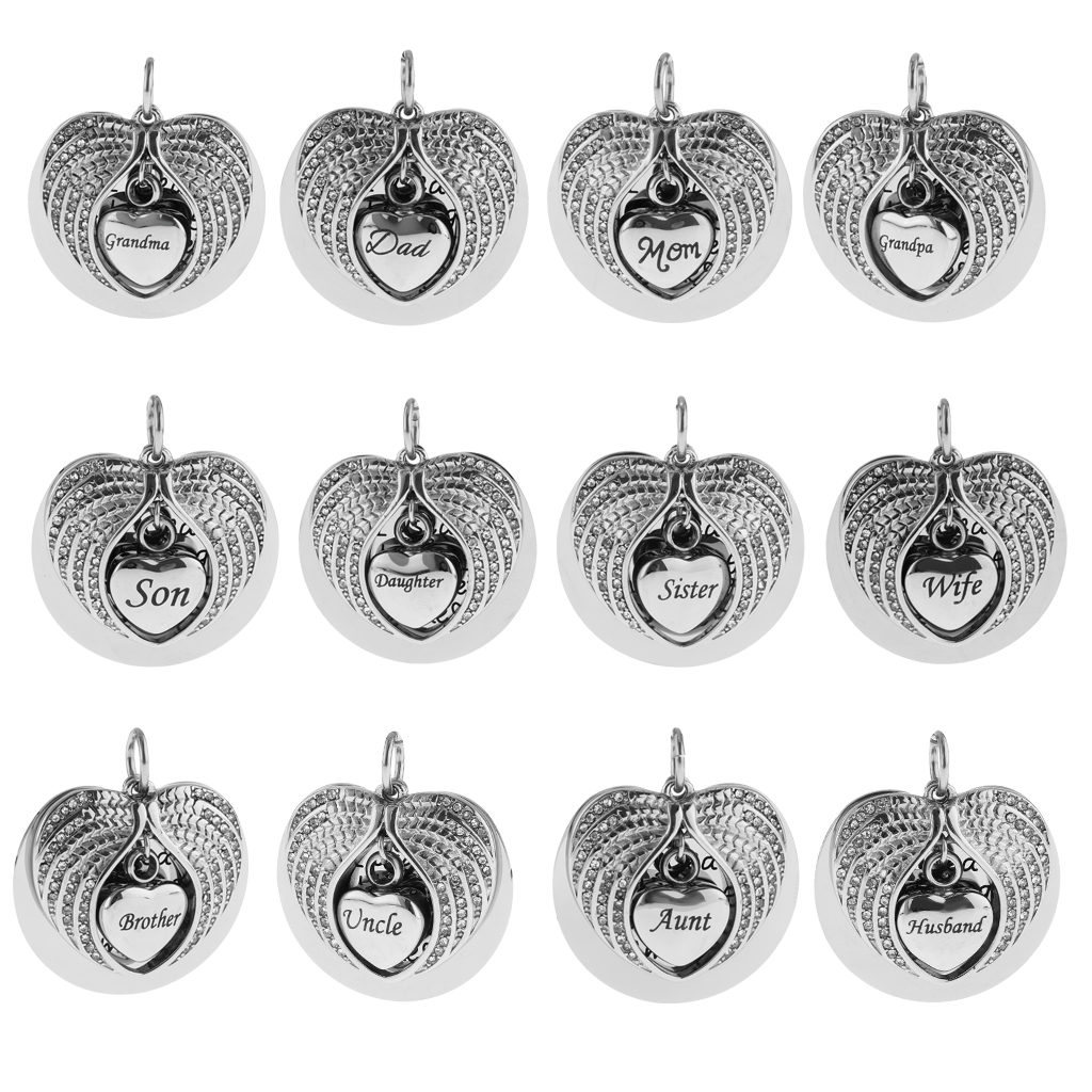 New America Angel Wings USA Urn Cremation Pendant Ashes Silver Memorial Necklace