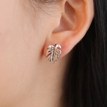 Trendy Zinc Alloy Stainless Steel Gold Color Silver Elegant Plant Leaves Stud Earrings for Women
