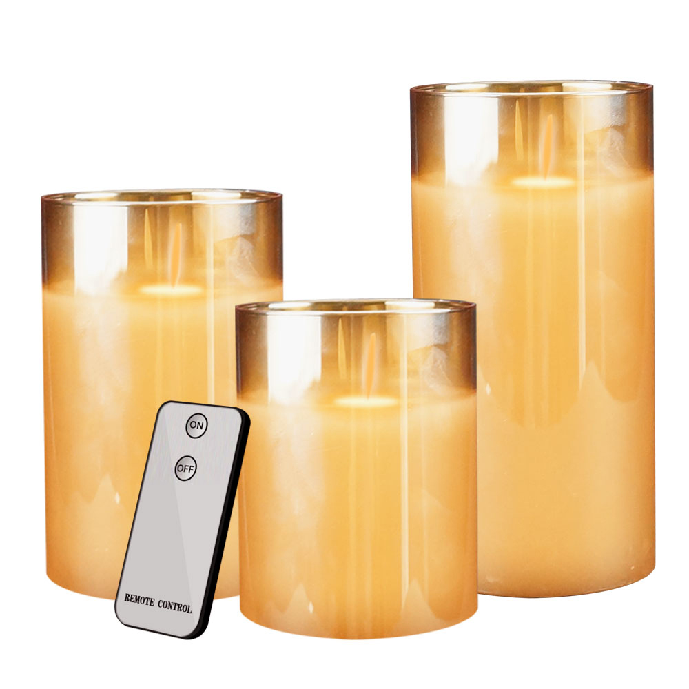 3pcs Remote Control Flameless Candles Battery Powered LED ...