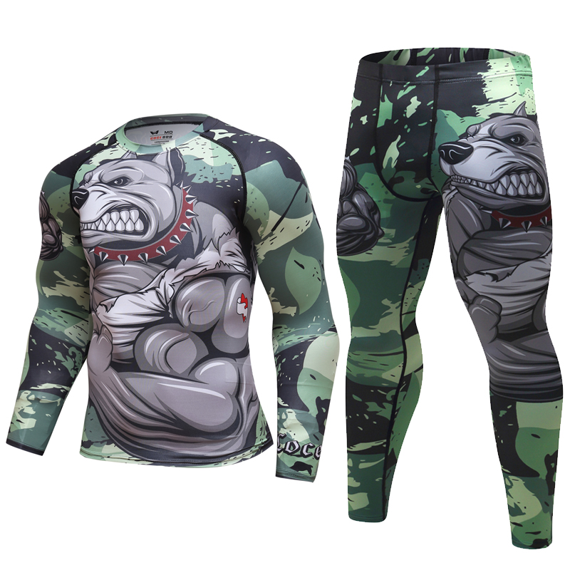 Mens Tracksuit Set 3D Animal Compression T-Shirt+Pants Skin Tight Long Sleeves Fitness Rashguard Viking Sets Gyms Fitness Suit