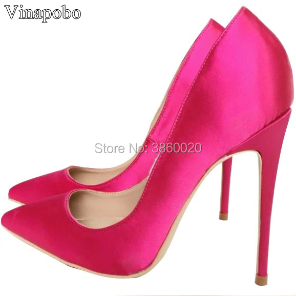 Top Quality Woman Hot Pink High Heel Slip on Wedding Shoes Pointed Toe Satin Bride Bridesmaid