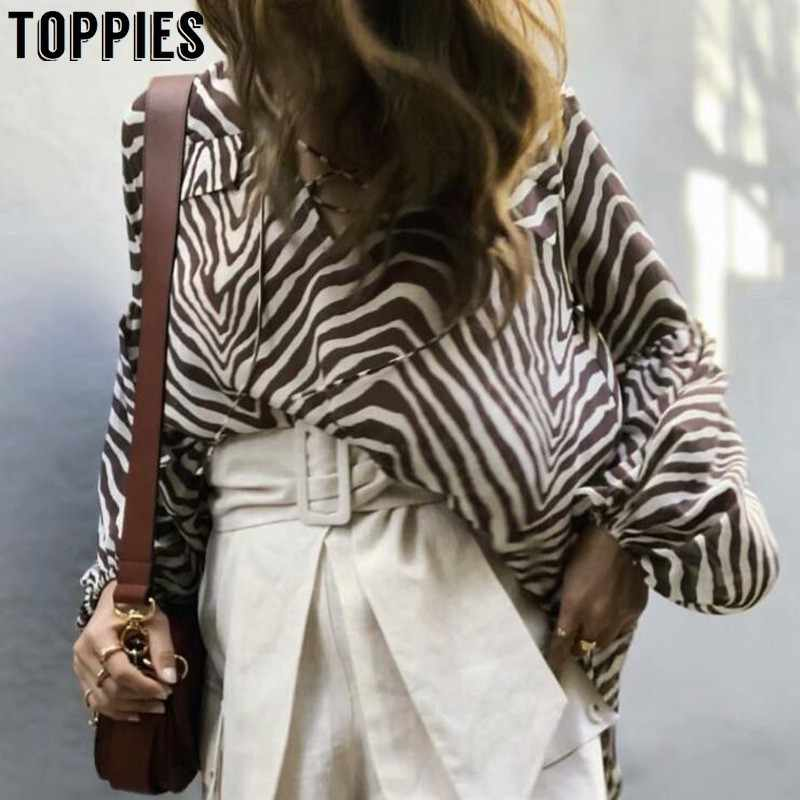 2019 Summer Zebra Striped Long-Sleeve T Shirt Lantern Sleeve Chiffon Tops Lady Square Collar Loose Tops Street Fashion