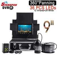 """SYANSPAN Wasserdichte DVR Fisch Finder 9 """"LCD Monitor Video Kamera 1000TVL Unterwasser Eis Angeln 36 LEDs 360 Grad Rotierenden schwarz"""