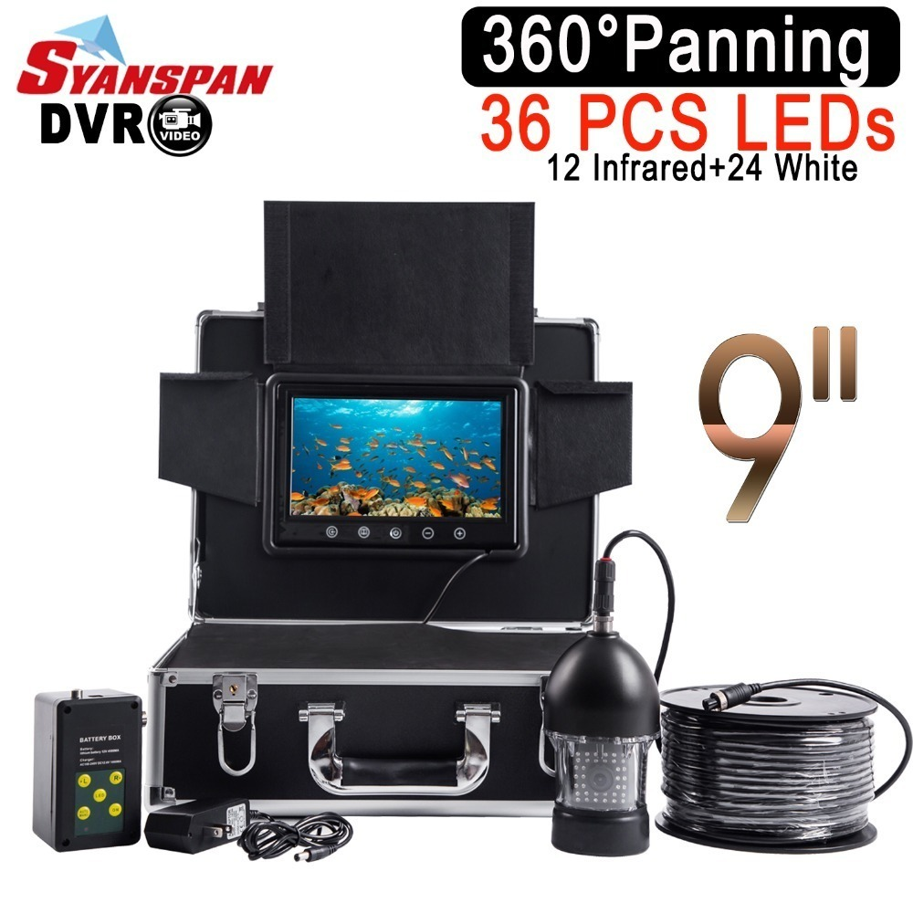 "SYANSPAN impermeable DVR buscador de peces 9 ""LCD Monitor de la cámara de vídeo 1000TVL bajo el agua pesca en hielo 36 LEDs giratorio de 360 grados negro"
