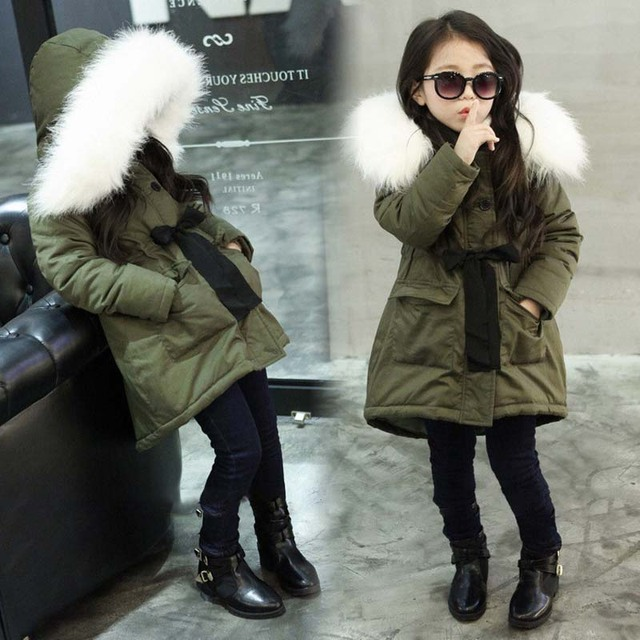 c17d5092a0304 Army Green Kids Little Girls Parka Jacket Coat with Faux Fur Hooded Winter  Thermal Warm Fleece