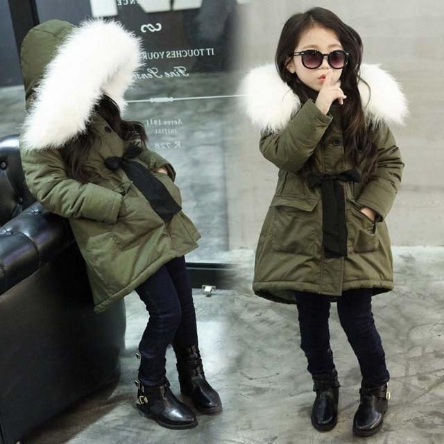 c17d5092a0304 Army Green Kids Little Girls Parka Jacket Coat with Faux Fur Hooded Winter  Thermal Warm Fleece