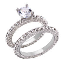18K White / Rose Gold GP Classic Wedding Engagement Ring With SWAROVSKI Crystal(China)