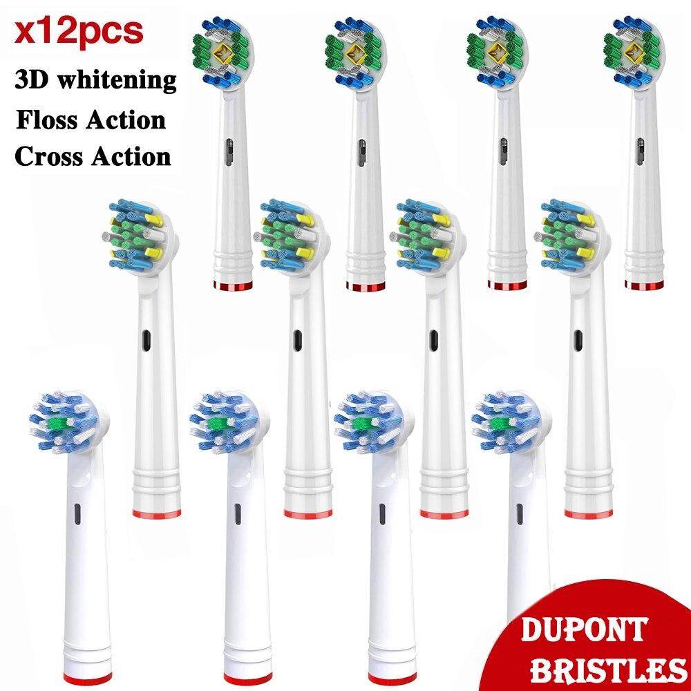 12X Para Braun Oral B Vitalidade Triumph D12 D16 D100 3D Clareamento Ação Floss Ação Cruz Substituição Cabeças Escova de Dentes Elétrica