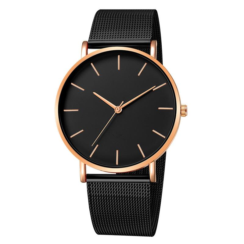 2020 moda kobiety czarne zegarki opaska siatkowa ze stali nierdzewnej kwarcowy zegarek luksusowe panie zegarek reloj mujer 4
