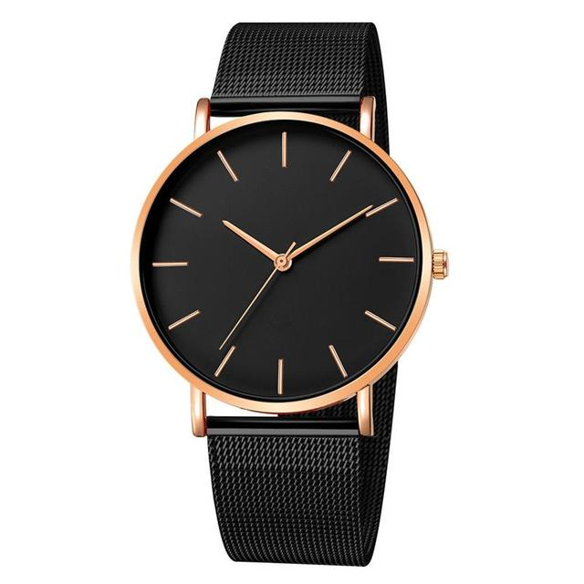 2019 Women Watches Mesh Band Stainless Steel Analog Quartz Wristwatch Minimalist Ladies Business watch Luxury Black reloj mujer 3