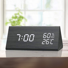 Saat Creative Digital Clock Wooden Electronic LED Time Display Temperature and H