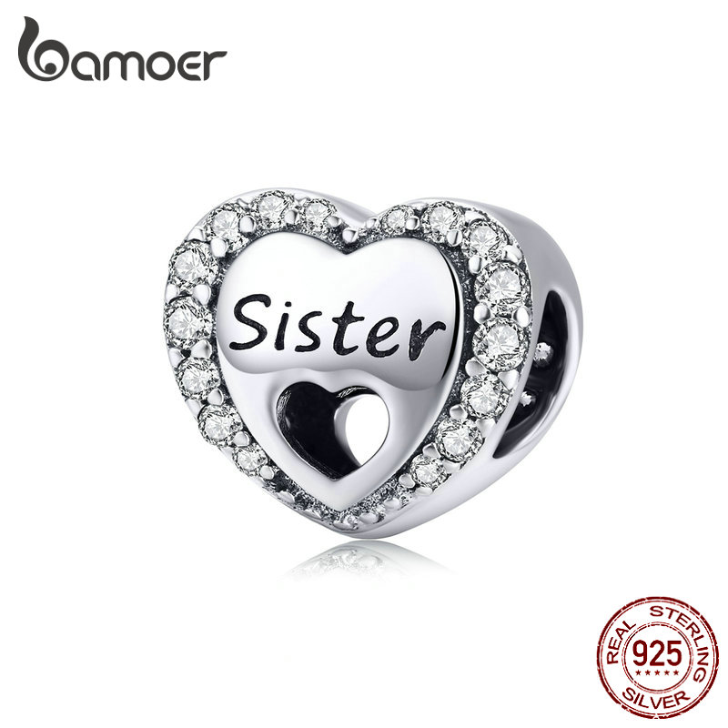 BAMOER Family Beads for Bracelet Heart Shpe Love Sis Sister Charms Silver 925 European Luxury Brand Fine DIY Jewelry SCC1141BAMOER Family Beads for Bracelet Heart Shpe Love Sis Sister Charms Silver 925 European Luxury Brand Fine DIY Jewelry SCC1141