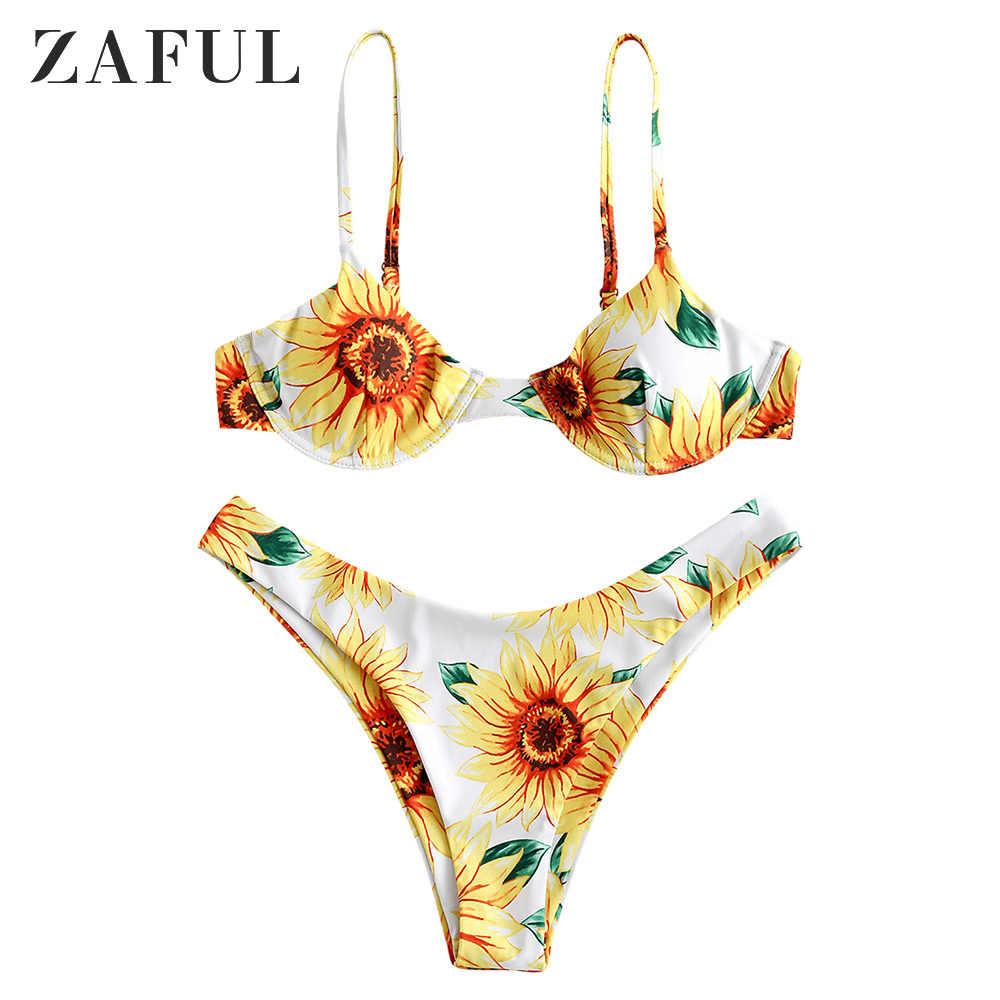 ZAFUL Spaghetti pasy Bikini Set Sexy stringi Bikini Tie Side fiszbiny Bikini niski stan stroje kąpielowe kobiety strój kąpielowy dla kobiet