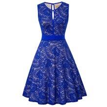 KK Сексуальное женское платье без рукавов с v-образным вырезом и замочным отверстием летнее элегантное платье винтажное ТРАПЕЦИЕВИДНОЕ цвет...