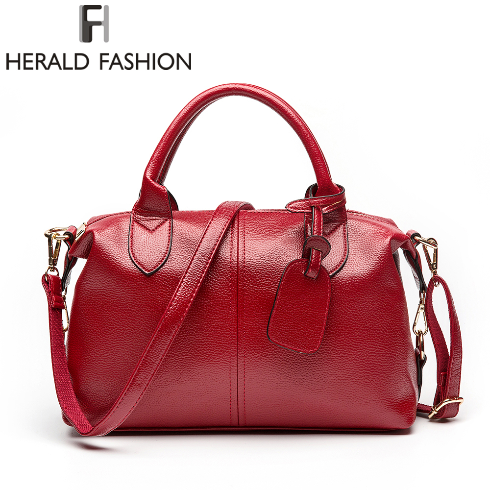 Herald Fashion Solid Women Kudde Handväska Soft PU Läder Kvinnor Top-Handle Bag Tote Axelväska Stor Kapacitet