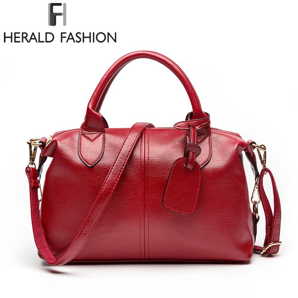 Herald Fashion Solid Women Pillow Handbag Soft PU Leather Women Top-Handle Bag Tote Shoulder Bag Large Capacity
