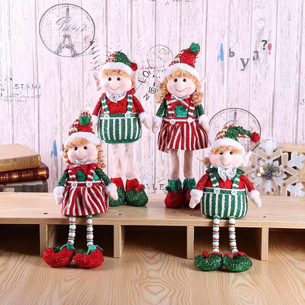 Christmas Elk Doll Table Ornament Festival Gift Cartoon Home Office Party Decor