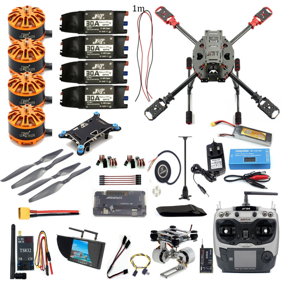 DIY Full Set FPV 2.4GHz 4 Aixs RC Airplane APM2.8 Flight Controller M7N GPS J630 Carbon Fiber Frame Props AT9S TX Hexacopter