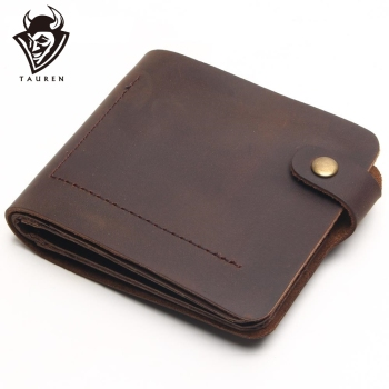 цена на 2020 Top Cow Layer Genuine Leather Men Vintage Wallet Cowhide Crazy Horse Full Leather For Men Coin Purse
