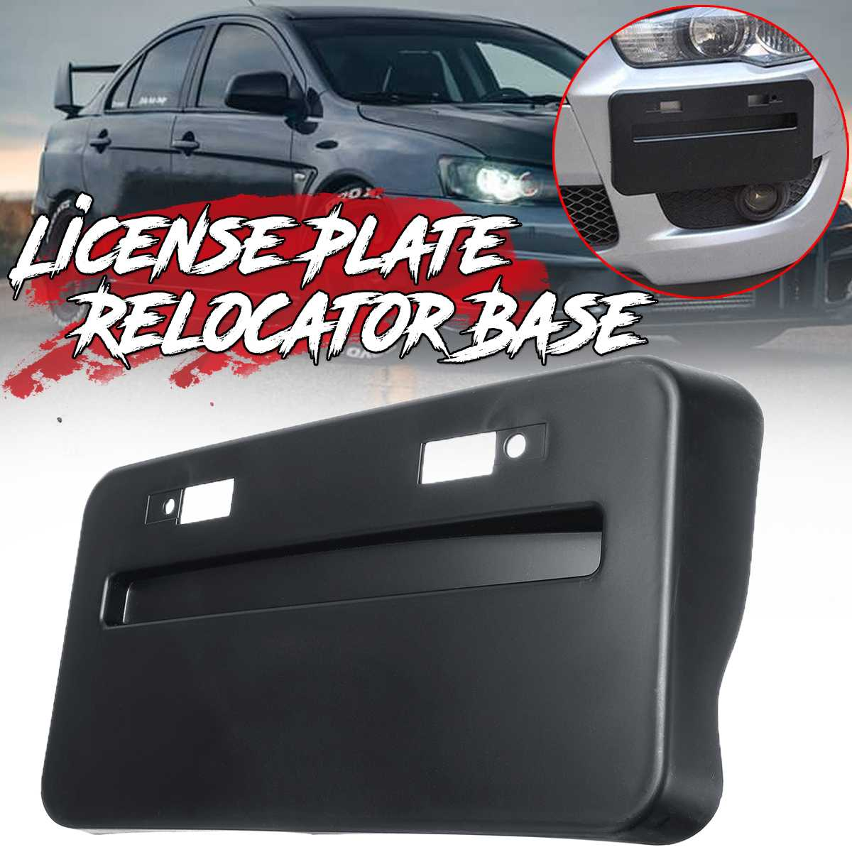 1x Car Front Bumper License Plate Base Frame Relocator Base For Mitsubishi Lancer GTS EVO X 2008-2018 License Plate Bracket