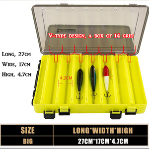 Image 2 - Draagbare Dubbelzijdig Visgerei Dozen Multifunctionele 14 Compartimenten Vissen Lokt Container Box Vistuig Accessoires
