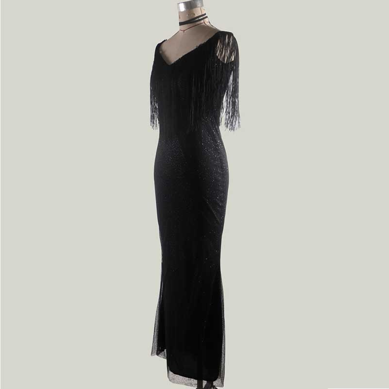 black dress Sexy off shoulder Sleeveless bodycon long robe femme vestido party dresses patchwork fringe woman clothes harajuku in Dresses from Women 39 s Clothing