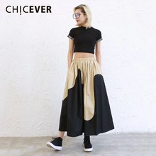 CHICEVER Spring Patchwork Hit Color Women High Elastic Waist Loose A-line Mid-calf
