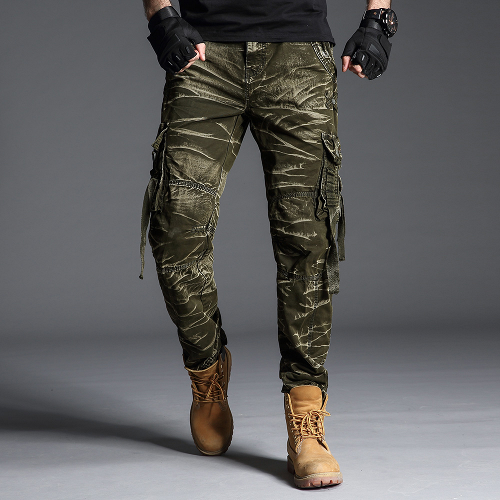 Camouflage Pants Men Cotton Tall Clothing Straight Loose Long Trouser Male Many Pocket 2019 Military Black Mens Camo Cargo Pants