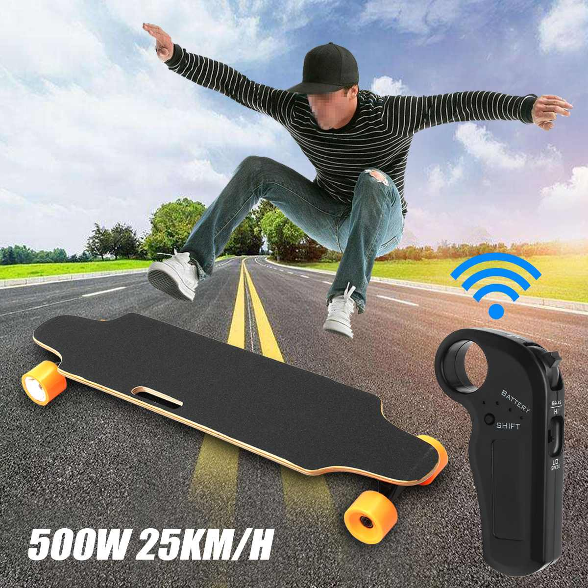 Electric Scooter Dual-motor 25km/h 500W Four Wheels Scooter Hoverboard Wireless Remote Control Small Fish Plate Skate Board