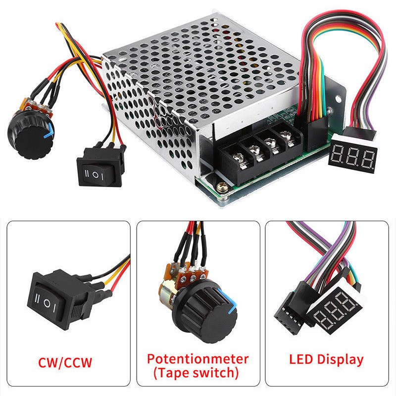 Motor Speed Controller DC Speed Controller 10-55/12/24/36V 60A PWM Motor Speed Controller CW CCW Reversible SwitchMotor Speed Controller DC Speed Controller 10-55/12/24/36V 60A PWM Motor Speed Controller CW CCW Reversible Switch