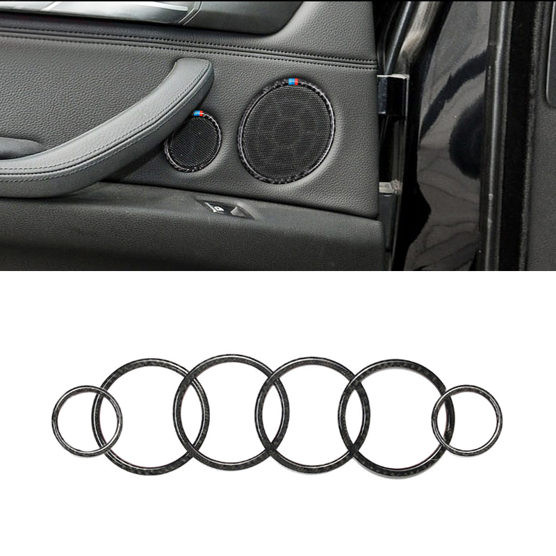 Image 2 - For BMW X5 E70 X6 E71 2009 2010 2011 2012 2013 4pcs / 6pcs Carbon Fiber Car Door Speaker Ring Loudspeaker Cover-in Interior Mouldings from Automobiles & Motorcycles