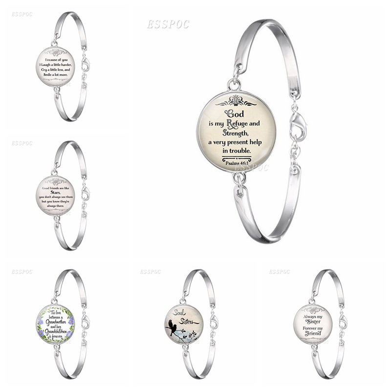 God Is My Refuge and Strengh Bible Psalms Quote Verse Bracelet Bible Glass Cabochon Jewelry SilverColour Bangle Women Gift