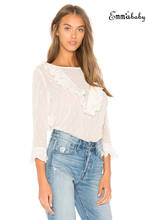 Women Ruffle Frill Shirt Solid Long Sleeve Casual Party Blouse Tops(China)