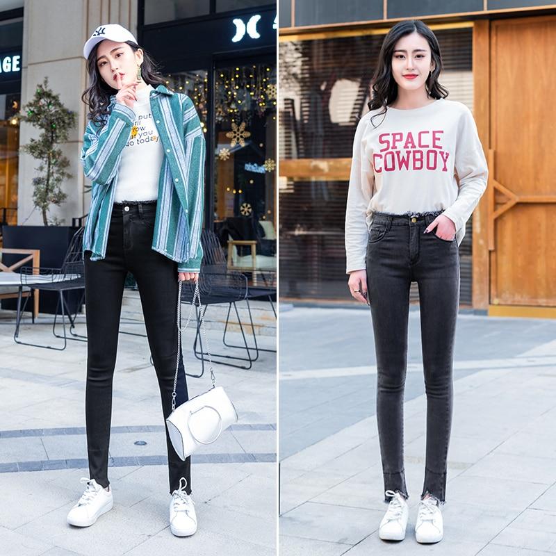De Pantalones Verano Elástico Denim Los gray Hem Super Agujeros Primavera Black Frayed Pengpious Cintura Alta 1W8qnY4q