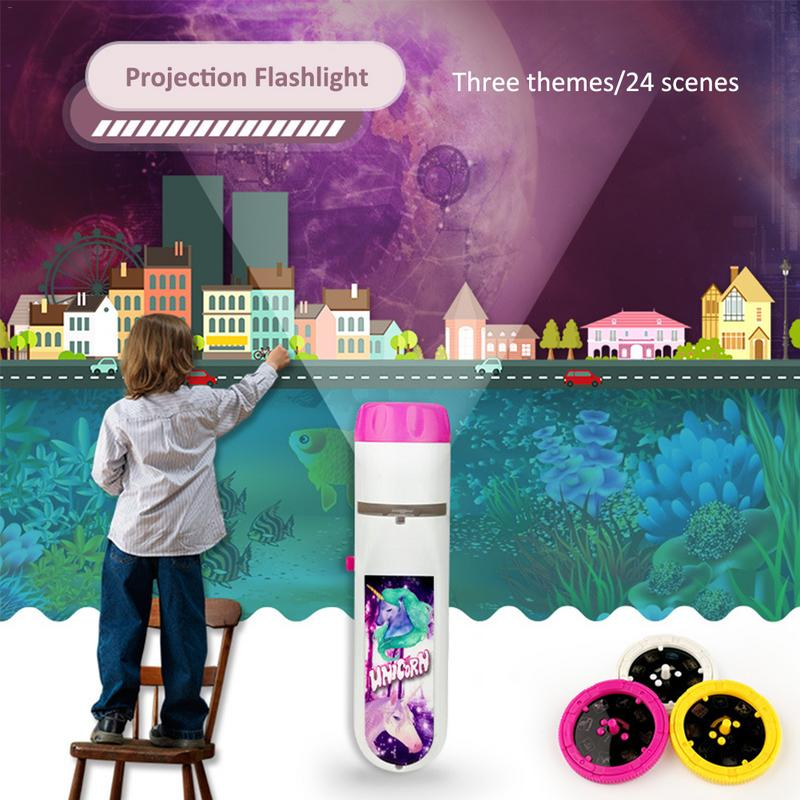 Projection Flashlight Children Projector Cute Cartoon Toy Night Photo Picture Light Bedtime Learning Fun Toys For Baby Toddlers