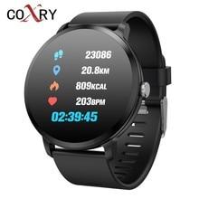 Coxry esportes relógios dos homens relógio inteligente à prova dip67 água ip67 vidro temperado rastreador de fitness monitor de freqüência cardíaca pedômetro smartwatch