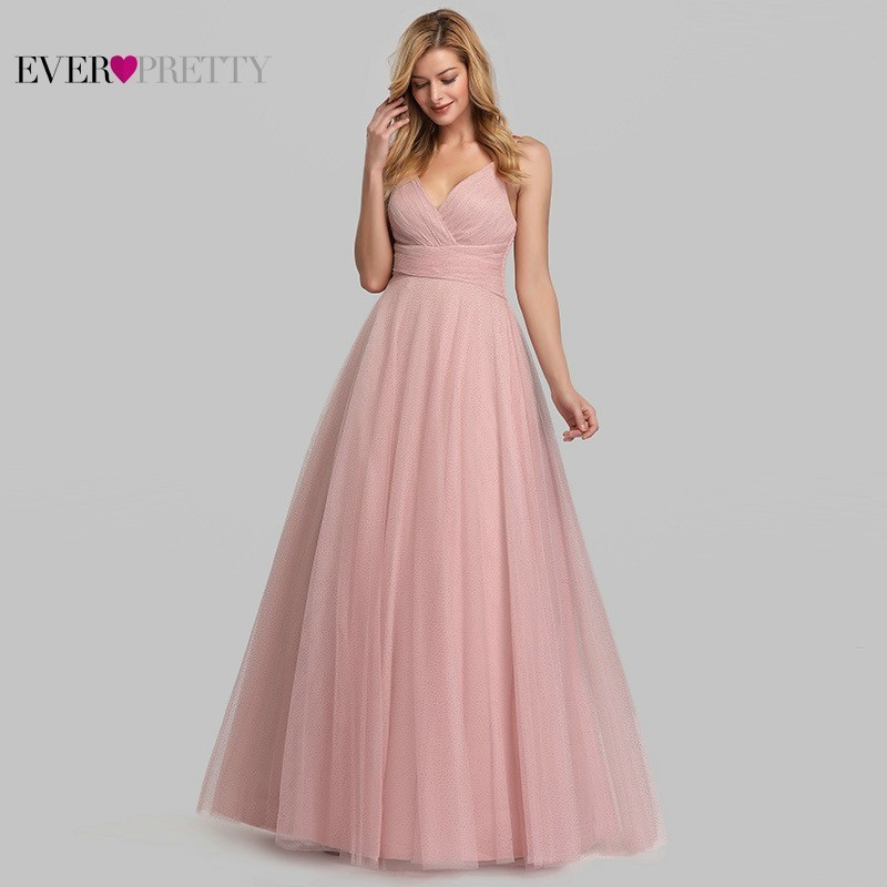Pink Quinceanera Dresses Long Ever Pretty Sleeveless A-Line V-Neck Summer Tulle Elegant Party Dresses EP07905PK Vestidos De 15